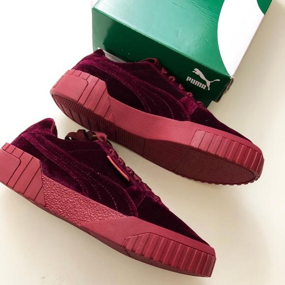 Puma Cali Red Velvet Sneakers Nib